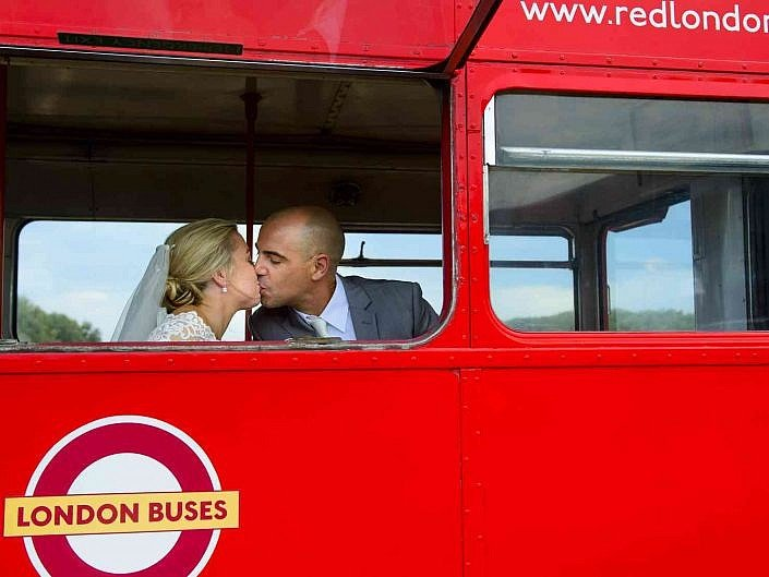 red london bus as a wedding transport