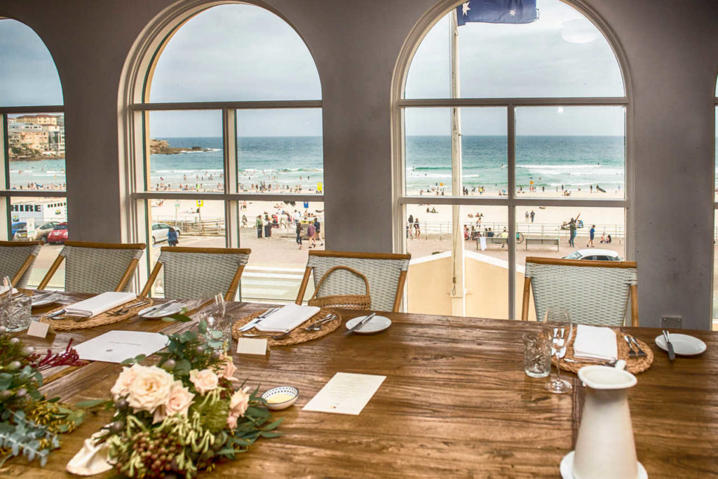 bridal table overlooking bondi beach