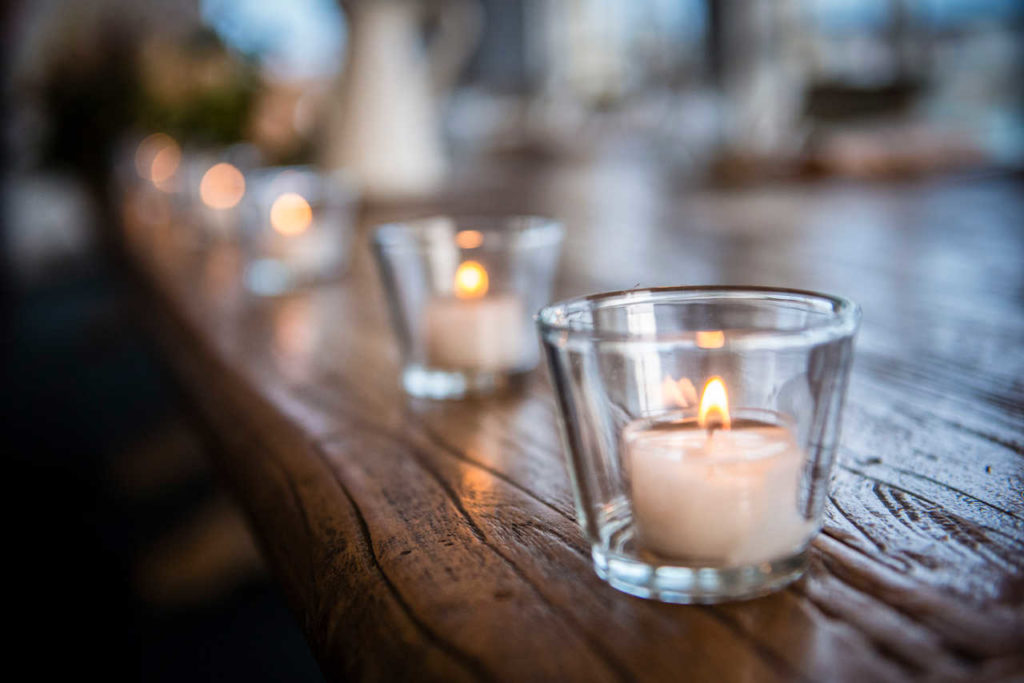 tealight candle on bridal table