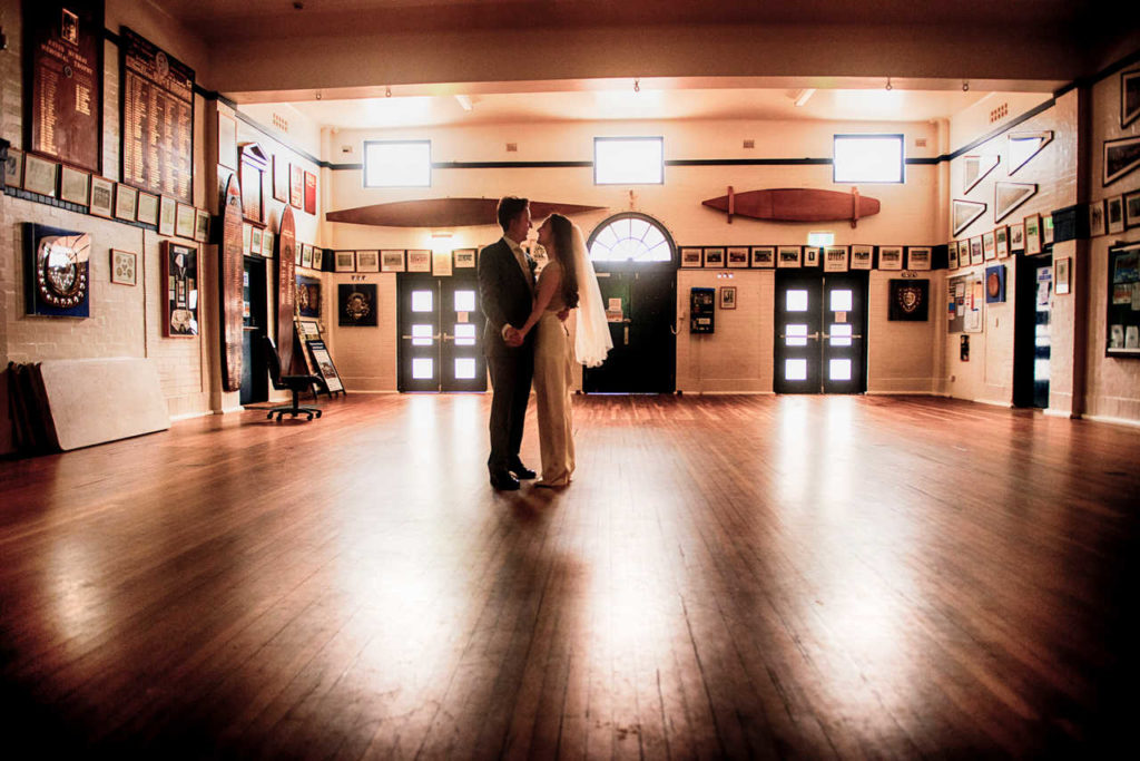 couple dancing in an old school hall at the blue room