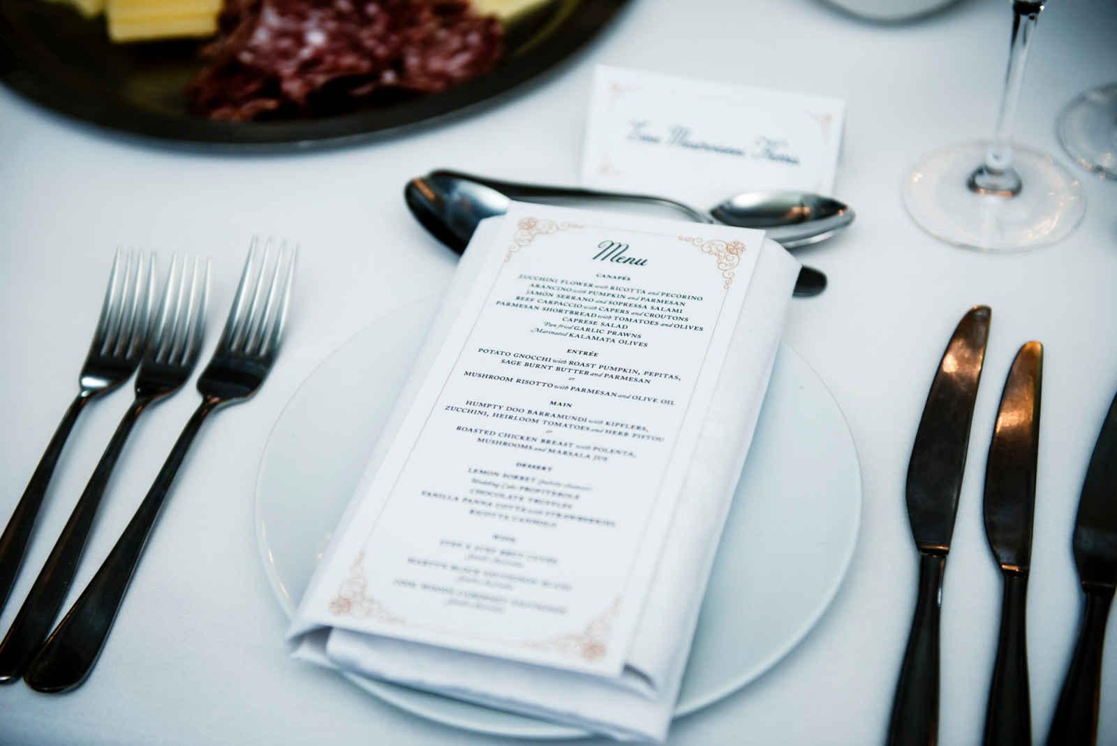 the menu at sergeants mess