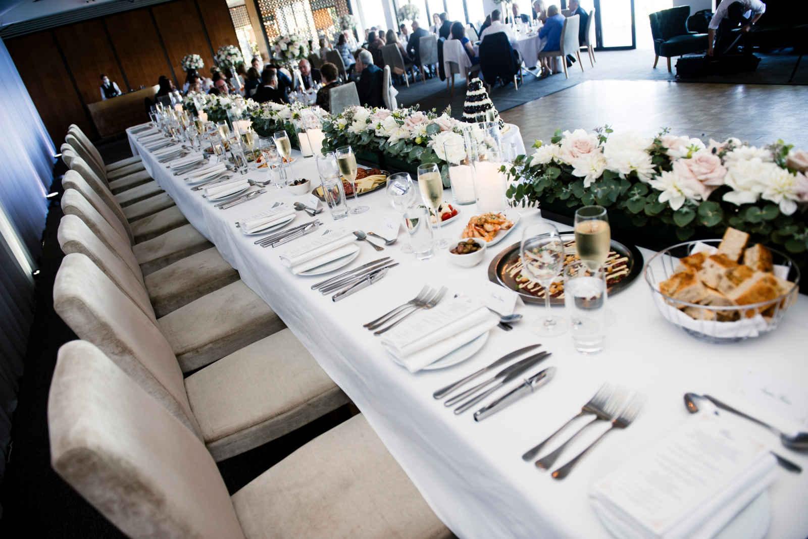 bridal table setting at sergeants mess