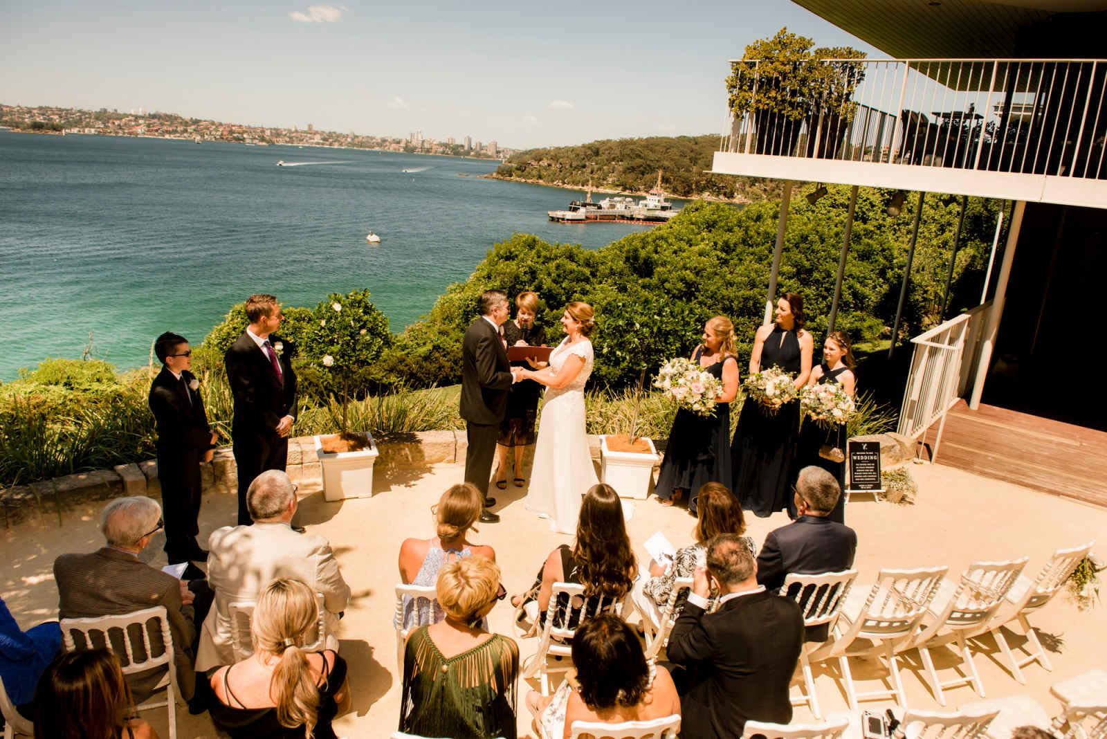 wedding ceremony ouside sergeants mess